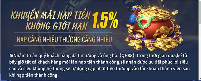 Khuyen mai nap tien khong gioi han nhan thuong 1 5 | qh88